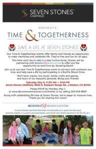 Time & Togetherness, Seven Stones Community Blood Drive @ Seven Stones Chatfield