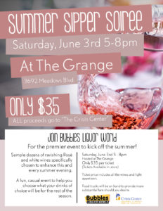 Summer Sipper Soiree benefiting The Crisis Center @ The Grange @ The Grange