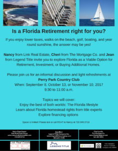 Is a Florida Retirement right for you? @ Perry Park Country Club