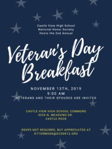 Free breakfast for area veterans at Castle View High School @ Castle View High School