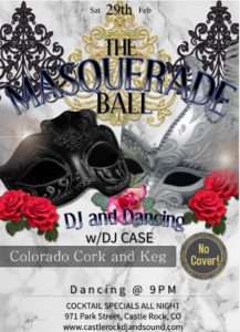 Masquerade Mardi Gras party - DJ and Dancing @ Colorado Cork and Keg