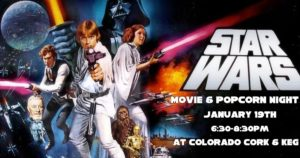 Star Wars Movie & Popcorn Night @ Colorado Cork and Keg